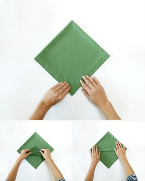 amazing folding technique turns your napkins into christmas trees steps