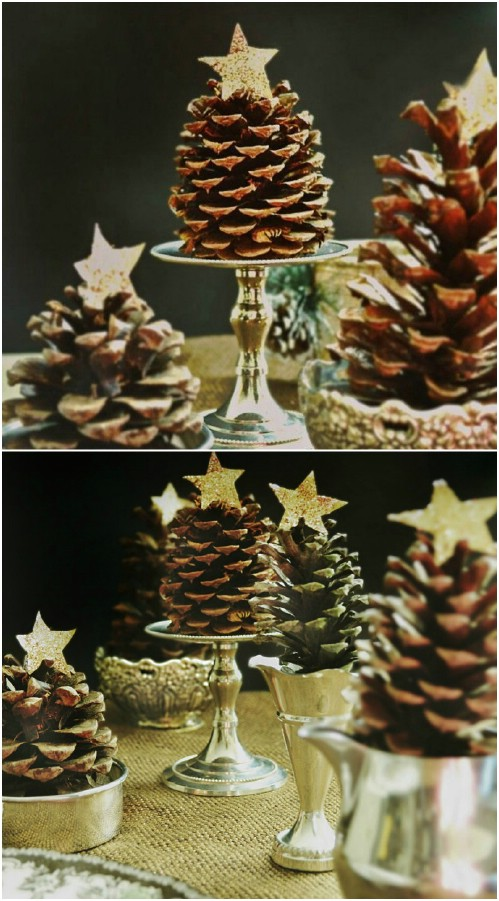 pinecone christmas trees - Rustic Christmas Decor