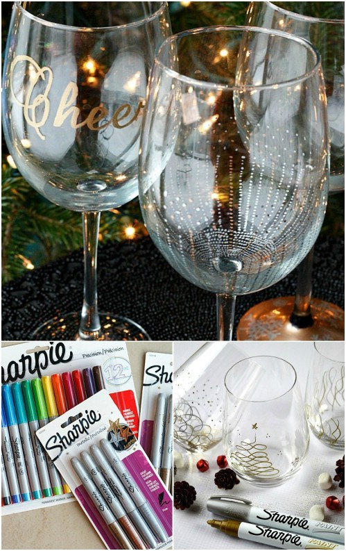 5 cute and clever painting ideas to christmas ify your for How to decorate wine glasses with sharpies