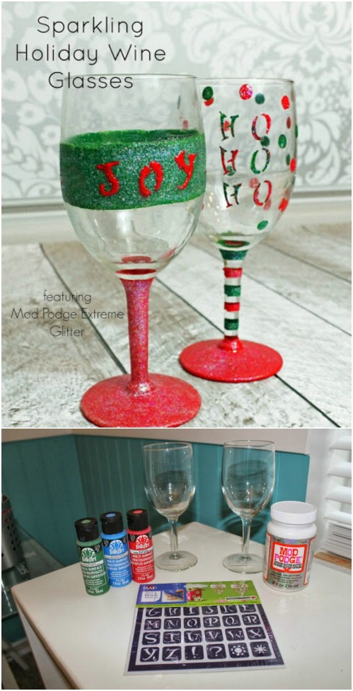 a bit of paint and glitter can completely christmas ify regular wine glasses you can use these purely as decoration