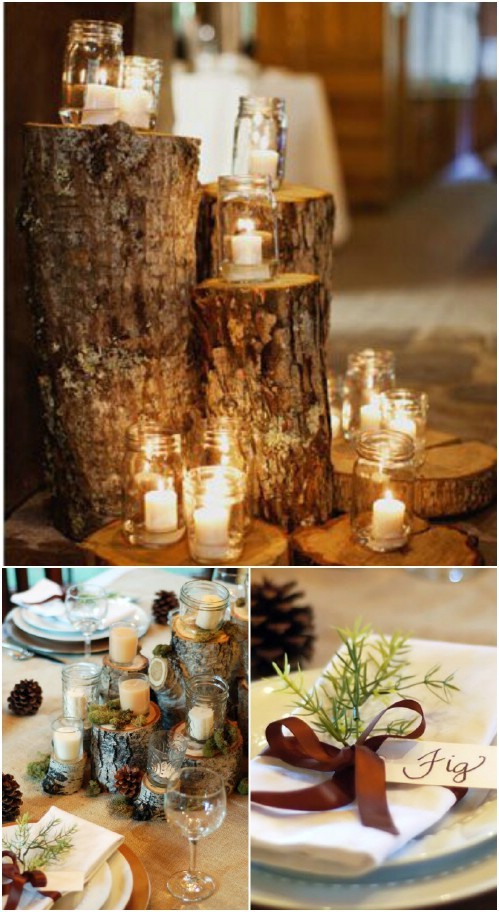 logs and candles - Rustic Christmas Table Decorations