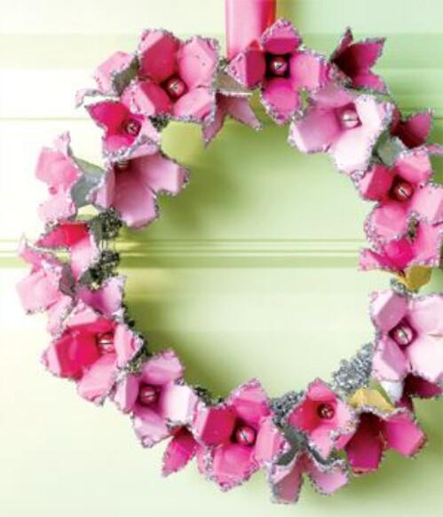 Pink Sparkly Egg Carton Flower Wreath