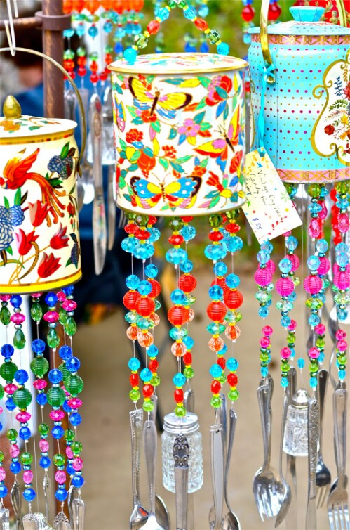 Colorful Wind Chimes with Tin Cans, Beads and Utensils
