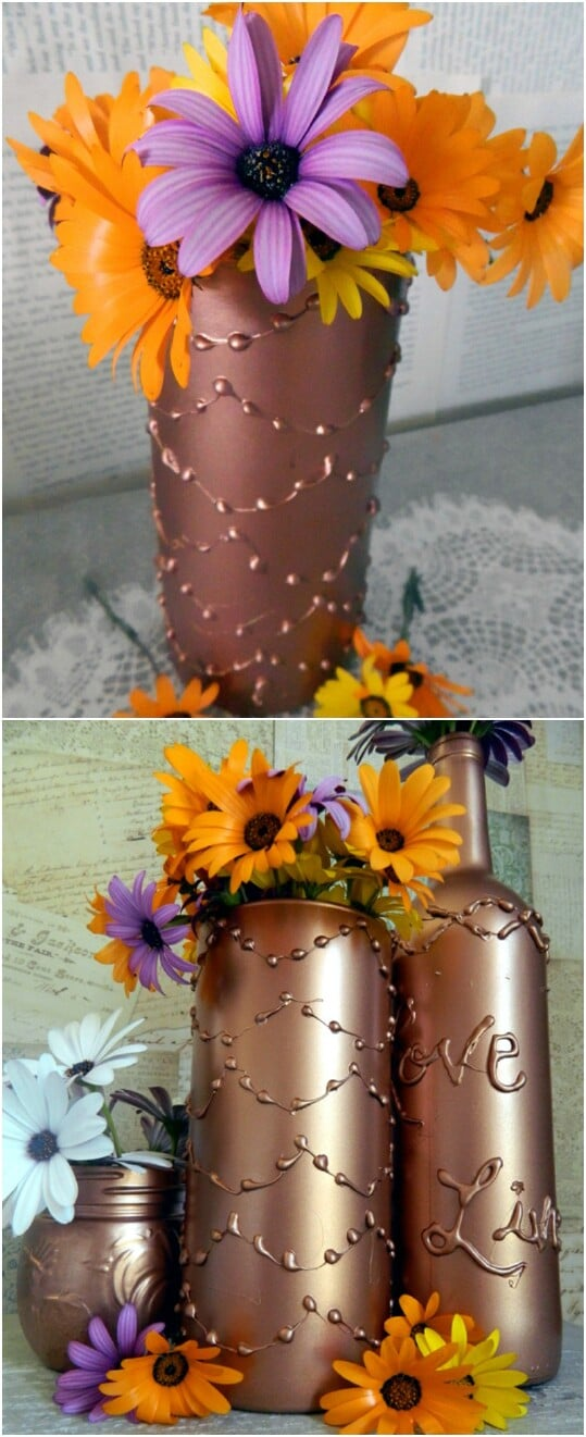40 borderline genius glue gun projects that will enchant your life decorate a vase using hot glue solutioingenieria Image collections