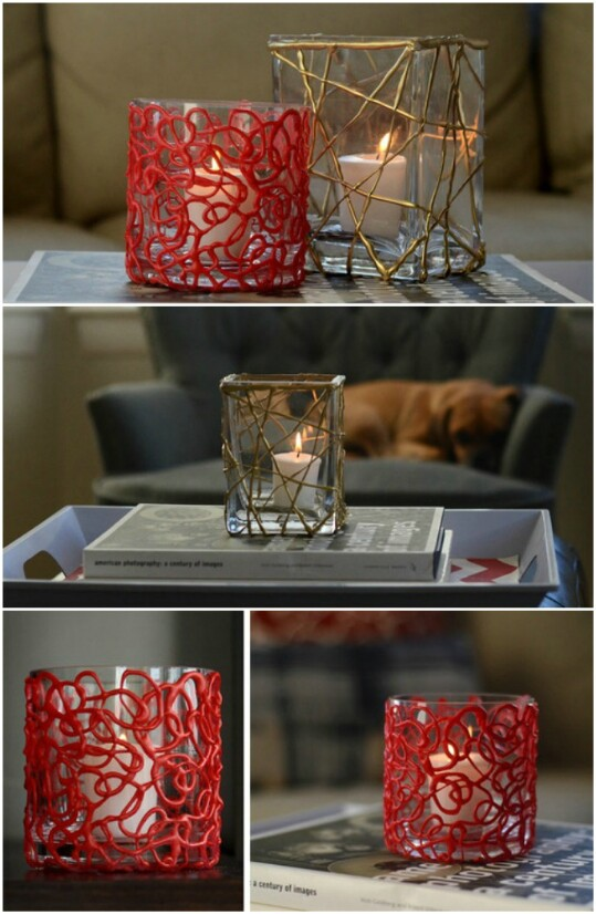 40 borderline genius glue gun projects that will enchant your life 16 make pretty votive candleholders solutioingenieria Image collections