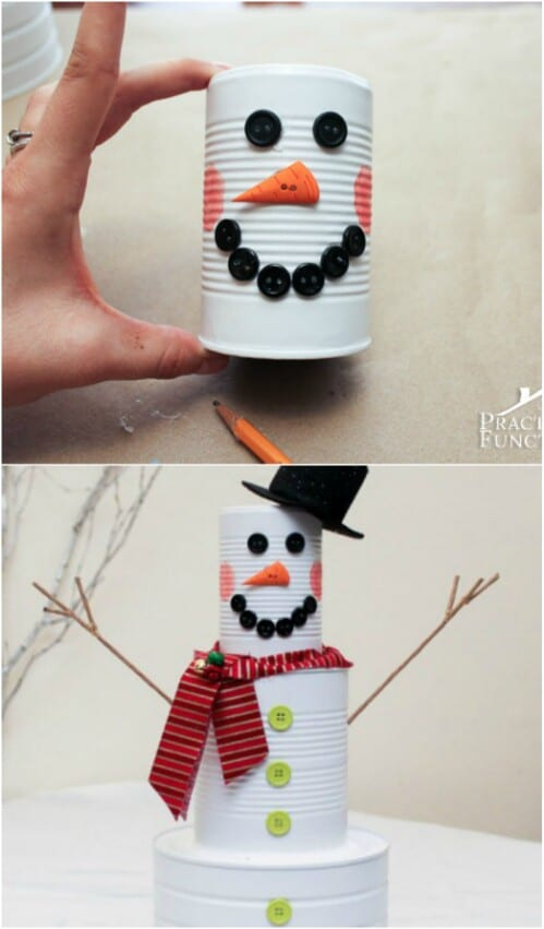 Tin Can Snowman for the Holidays