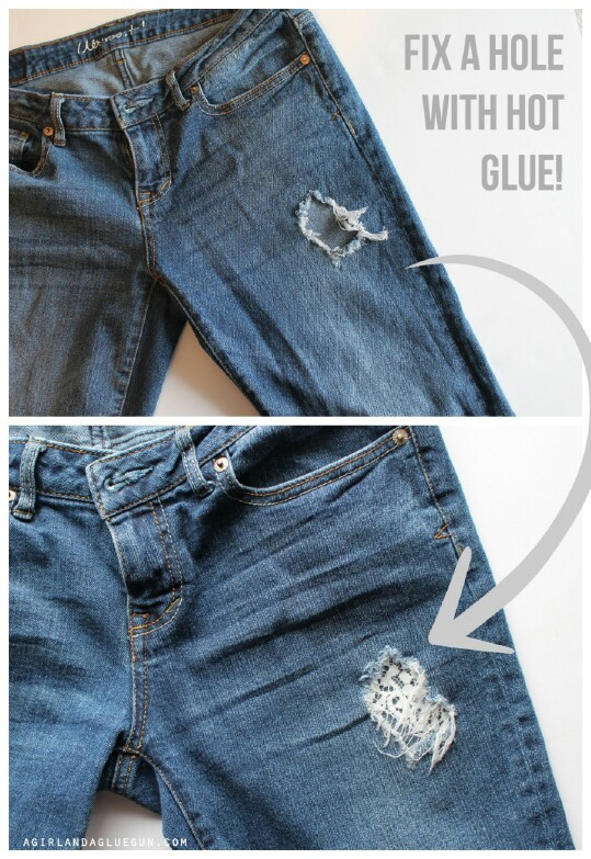 """25. """"Fix"""" A Hole In Your Jeans with Hot Glue and Lace"""