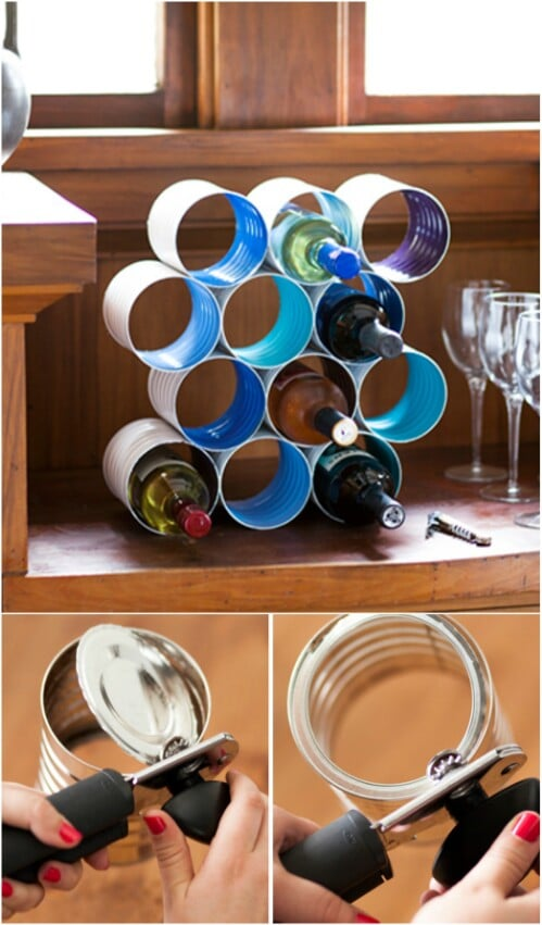 Tin Cans Are the Perfect Size for Making a Wine Rack