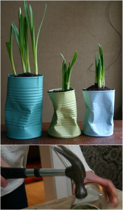 Quirky Crushed Tin Can Planters