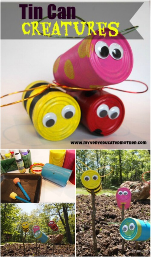 Make Cute Tin Can Lawn Critters