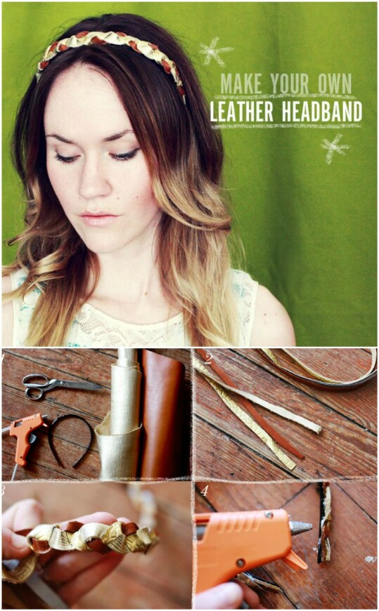 6. Make a beautiful headband out of scrap leather.