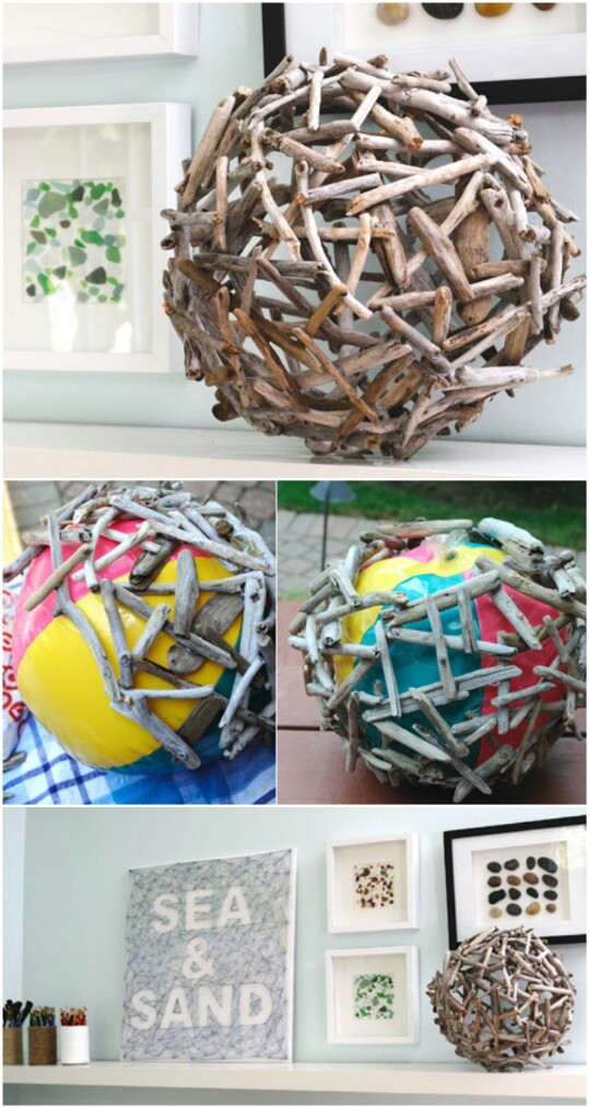 8. Create an orb out of driftwood.