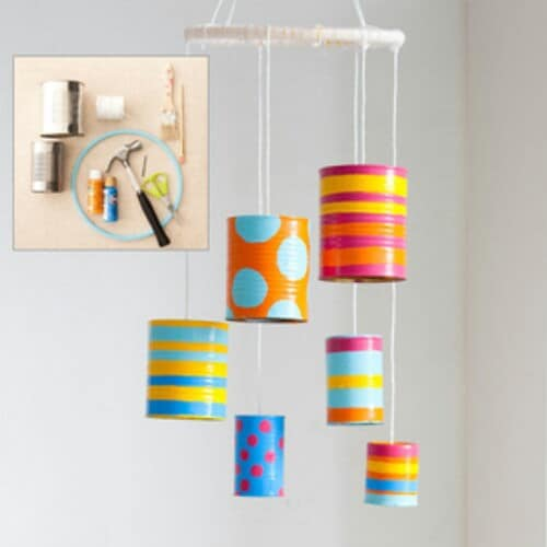 Simple, Colorful Tin Can Wind Chimes