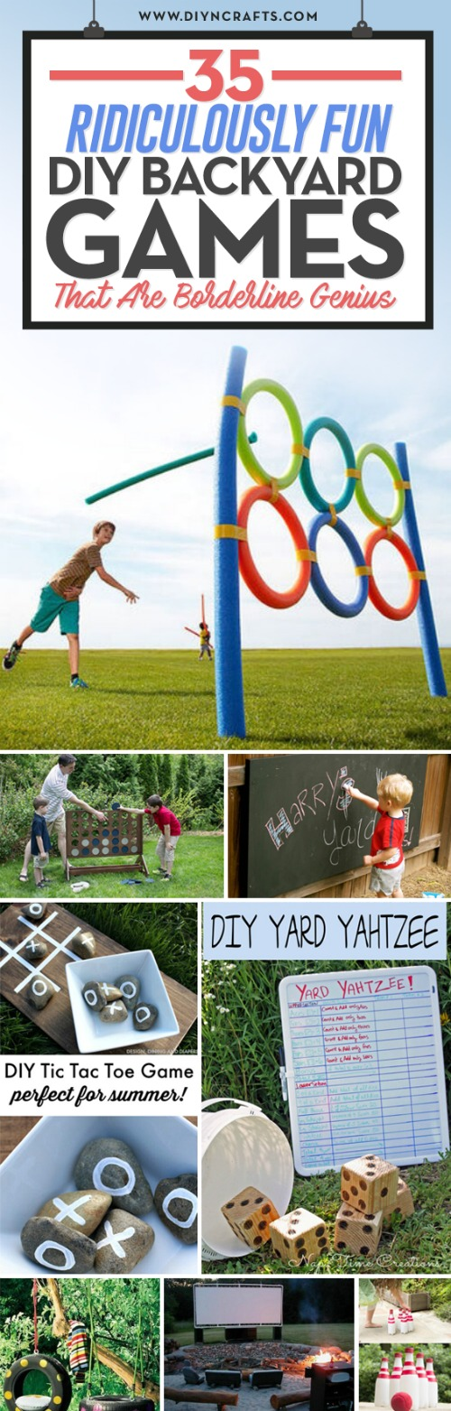35 Ridiculously Fun #DIY #Backyard #Games That Are Borderline Genius - In the months leading up to summertime, my kids start getting crazy antsy. It's like they're turning into little balls of energy I can scarcely control. They start tearing around the house. I find myself wishing as much as they would that the weather would warm up enough already to go outside!