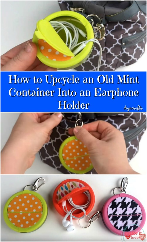 How to Upcycle an Old Mint Container Into an Earphone Holder {Video}
