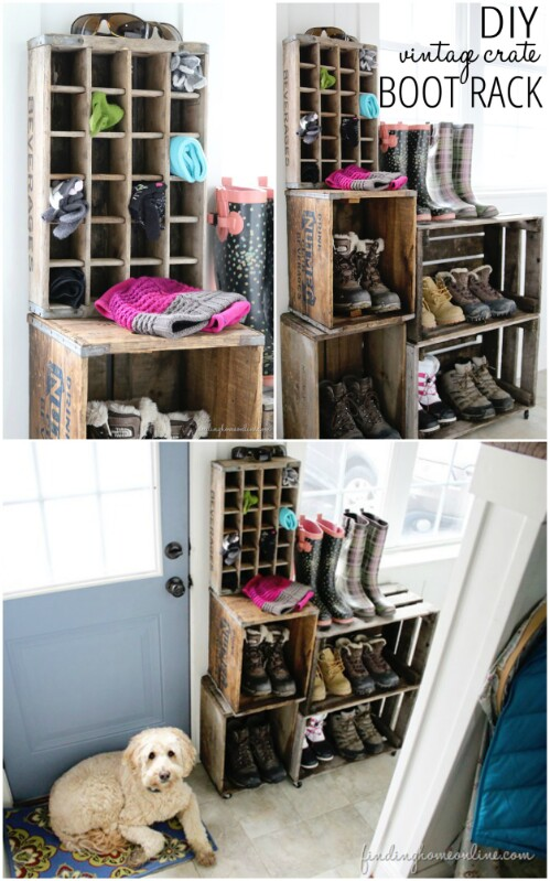 Vintage Boot Rack30 Charming Vintage DIY Projects for Timeless and Classic Decor  . Diy Vintage Home Decor. Home Design Ideas