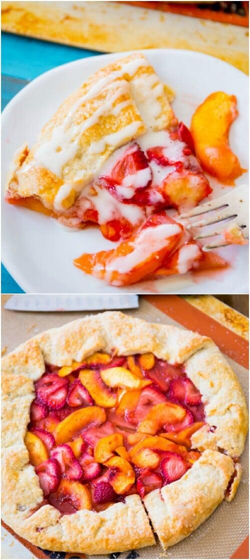 Rustic Strawberry Peach Galette