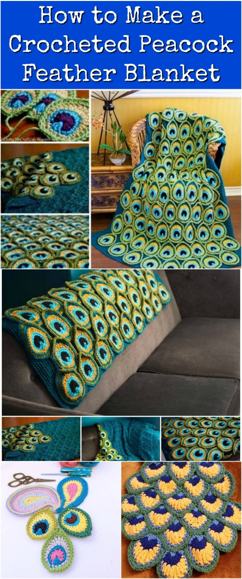 How To Make A Crocheted Peacock Feather Blanket Diy Amp Crafts
