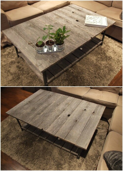 Barn Wood Rail Road Track Coffee Table