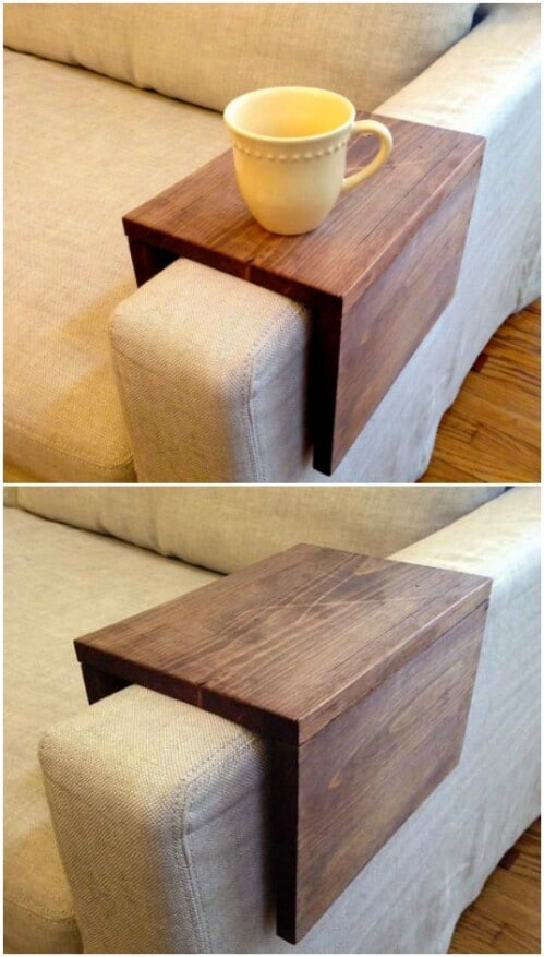 Wood Couch Arm Shelf
