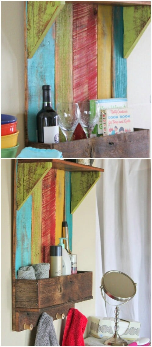 Colorful Bathroom (or Kitchen) Shelf
