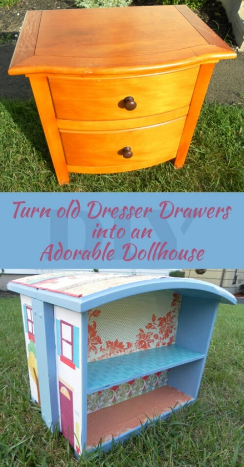 5 Adorable Ways To Repurpose Old Dressers Into Dollhouses
