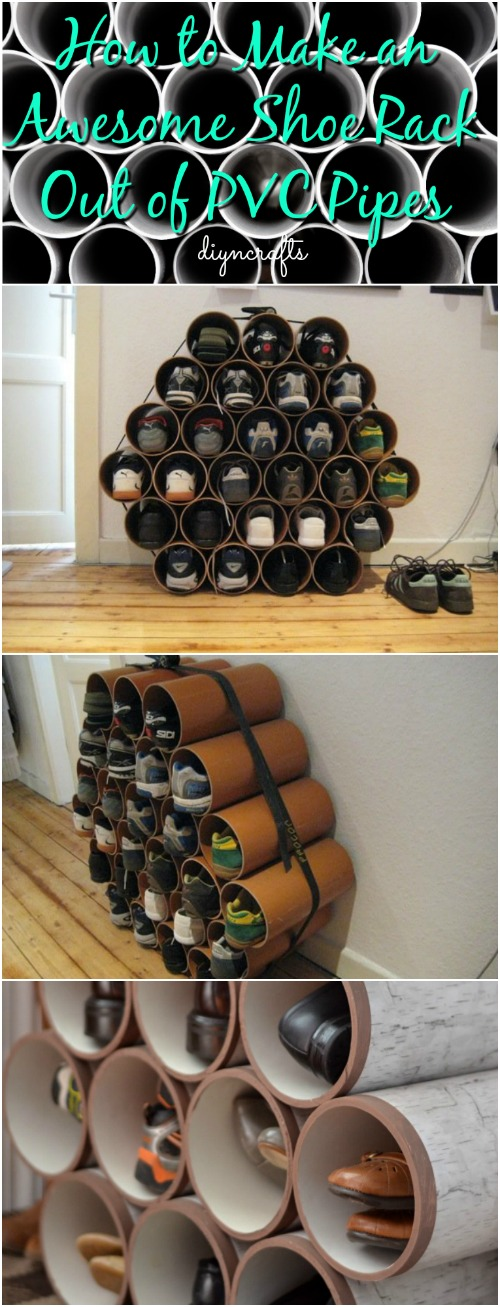 How to Make an Awesome Shoe Rack Out of PVC Pipes {Video}