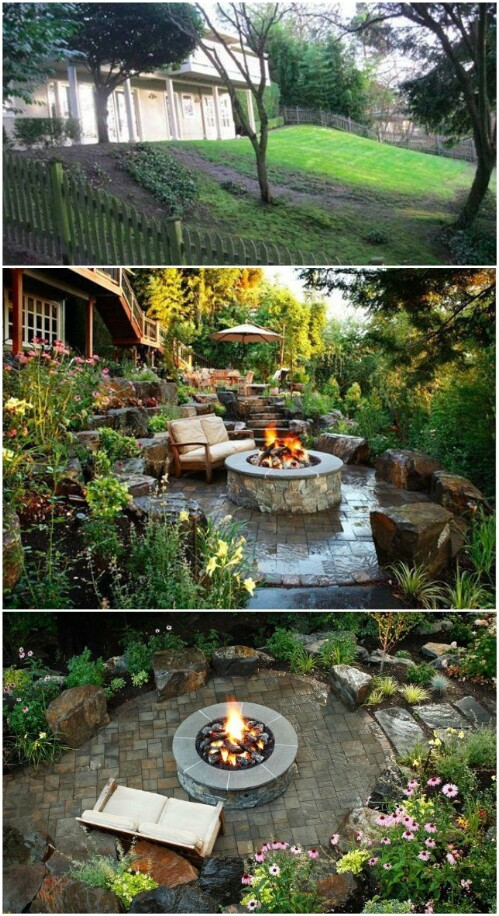 Amazing Backyard Patio with Fire Pit and Lush Garden