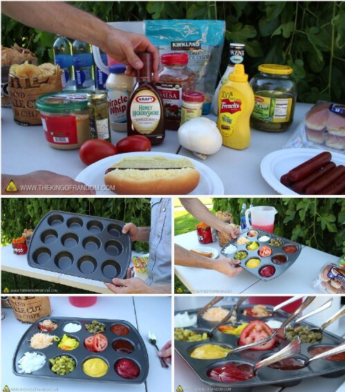 4. Serve condiments in a muffin tin.