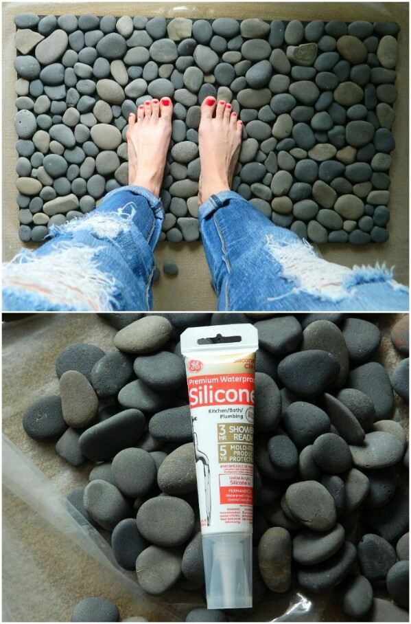 40 gorgeous diy stone rock and pebble crafts to beautify your life 2 ocean stone bath mat solutioingenieria Choice Image