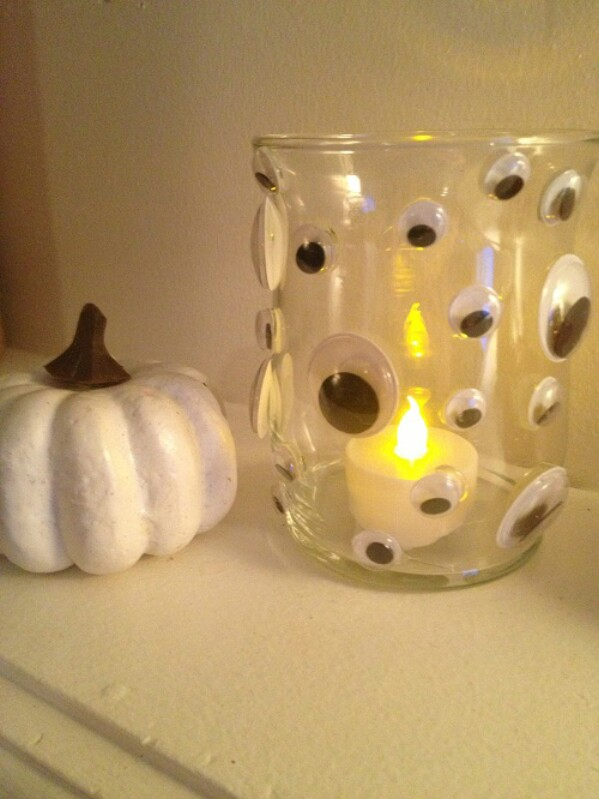 20 candle holders with eyes - Craft Halloween Decorations