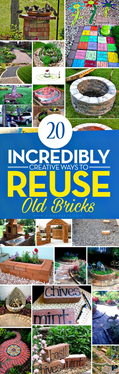 20 Incredibly Creative Ways To Reuse Old Bricks - Whether you've got a handful of bricks or an entire house worth, there is a great DIY project just waiting to put them to use. I've found a great collection of 20 incredible DIY projects that use bricks, and in some cases, nothing else. There is everything in here from do it yourself walkways to candles, and so much more.