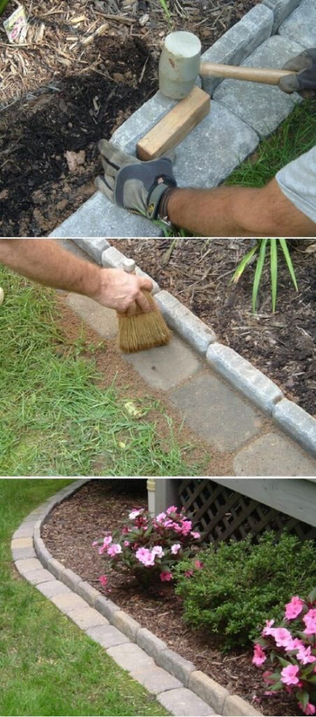 4. Make Brick Edging for Garden Beds