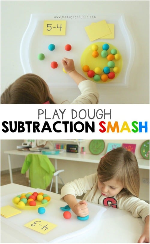 Subtraction Smash - Fun Playdough Games, Projects, and Activities