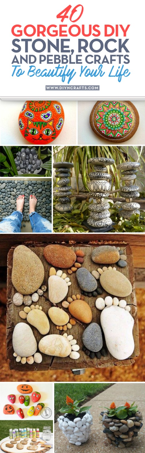 40 Gorgeous DIY Stone, Rock, and Pebble Crafts To Beautify Your Life {With tutorial links} Fall is my favorite time for outdoor DIY projects. It's not too hot and there's just something about landscaping against those beautiful fall colors that I really love. If that's true for you, I've got a great collection crafts for you to try. #diy crafts #stone #pebble #rock #repurpose #decor #decorating #creative #handmade