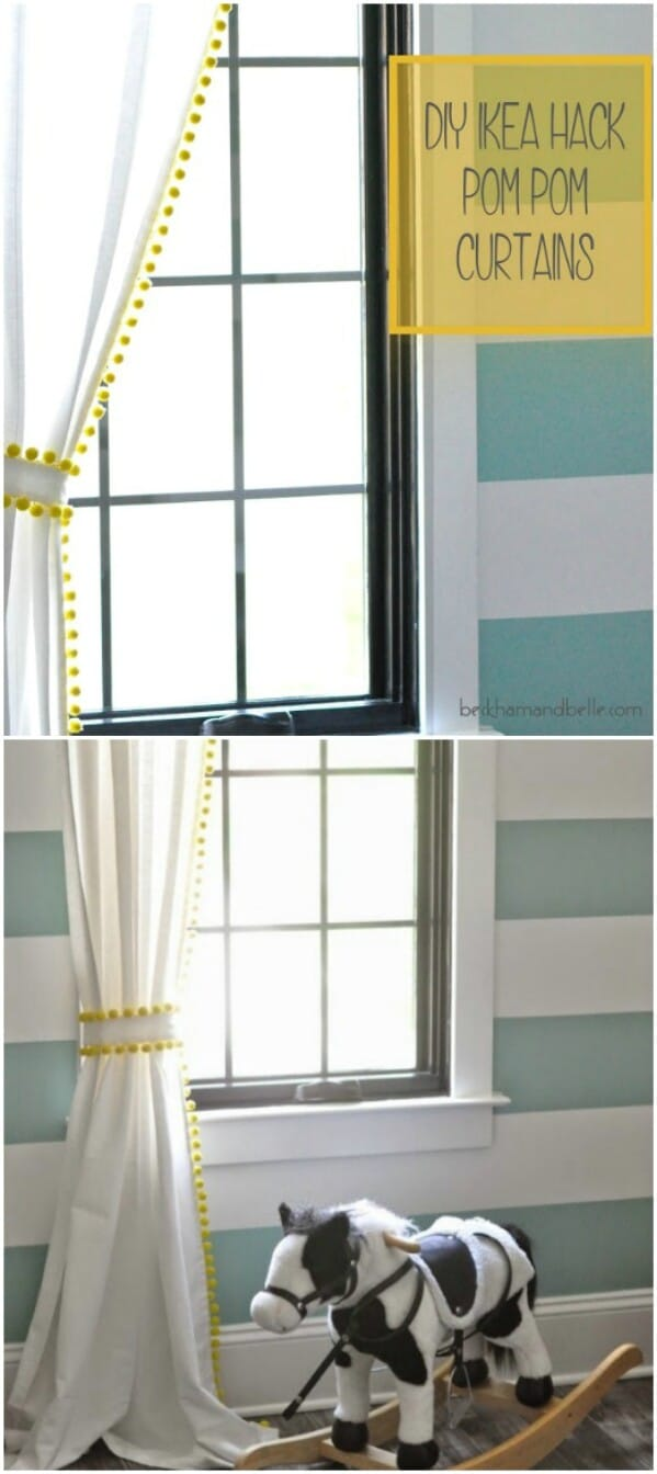 20 elegant and easy diy curtain ideas to dress up your windows diy ikea hack pom pom curtains solutioingenieria Images