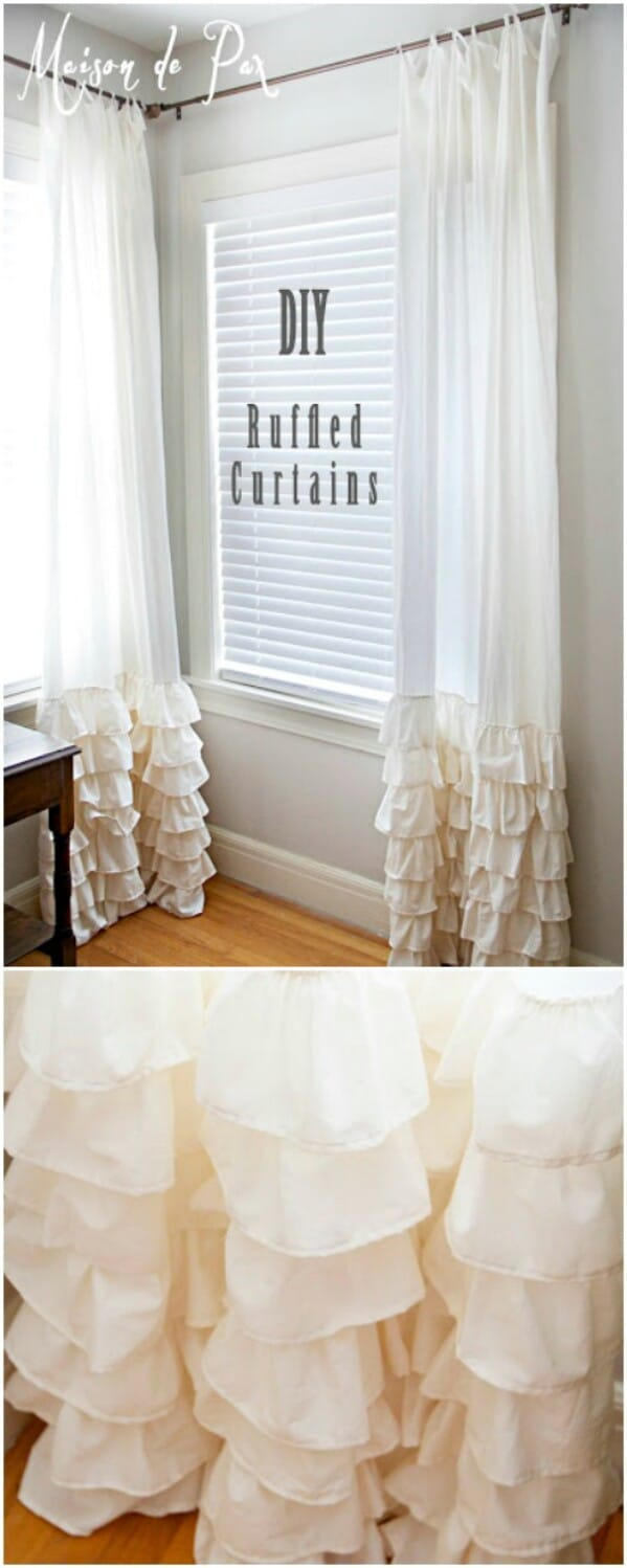 DIY Ruffled Curtains. 20 Elegant And Easy DIY Curtain Ideas To Dress Up Your Windows