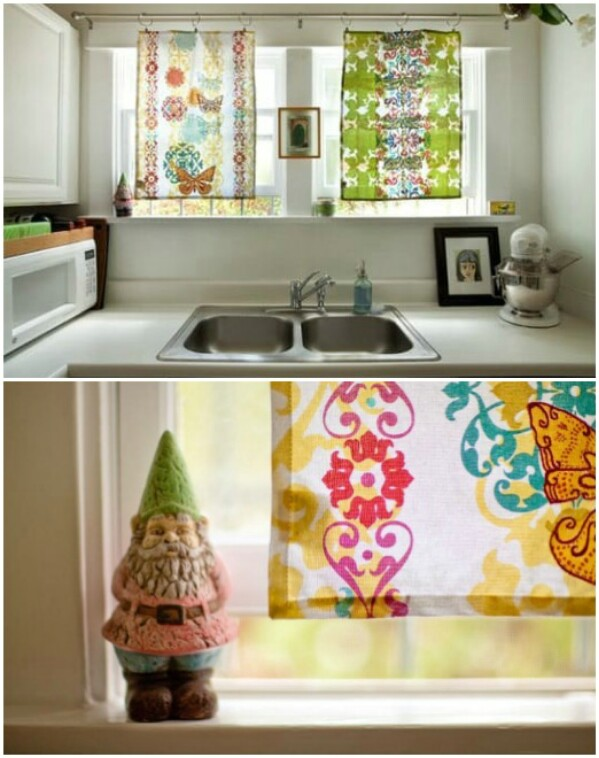 20 elegant and easy diy curtain ideas to dress up your windows diy tea towel curtains solutioingenieria Images