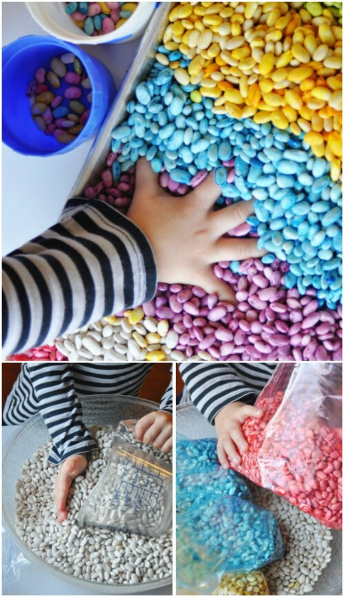 Make scented rainbow beans for sensory play.