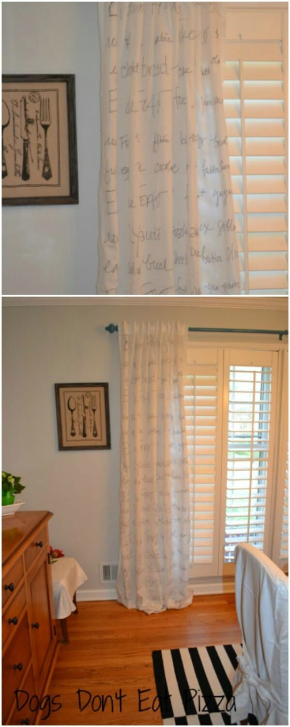 20 elegant and easy diy curtain ideas to dress up your windows diy sharpie script curtains solutioingenieria Images