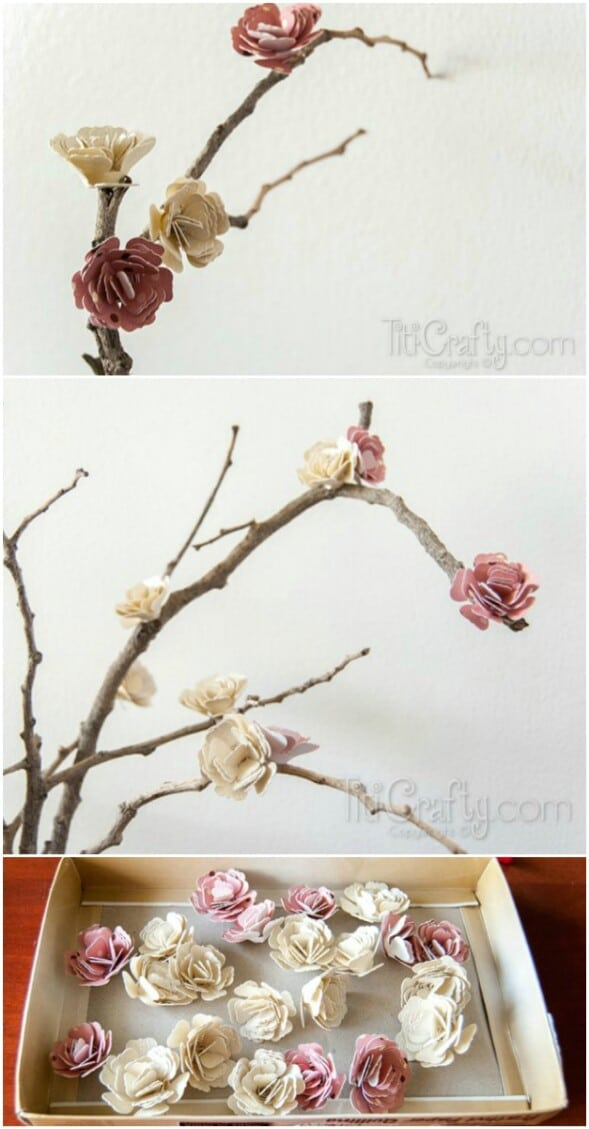 Paper Flowers Blossom Branches
