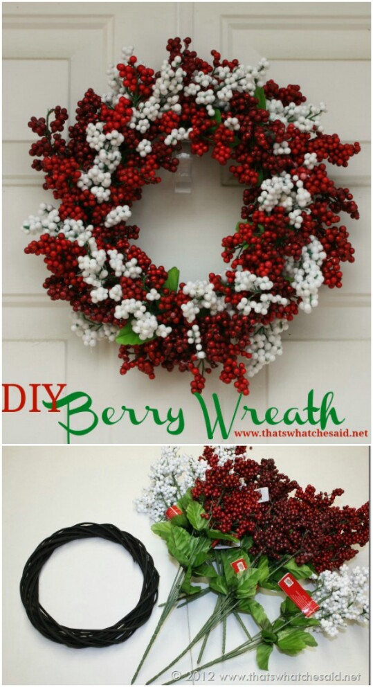 the dollar store always has these amazing red berries not the real kind mind you that you can use to add a splash of color to flower arrangements - 99 Cent Store Christmas Decorations