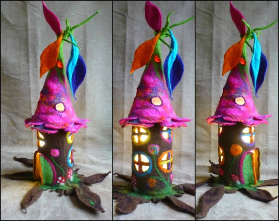 Etsy felted fairy houses.