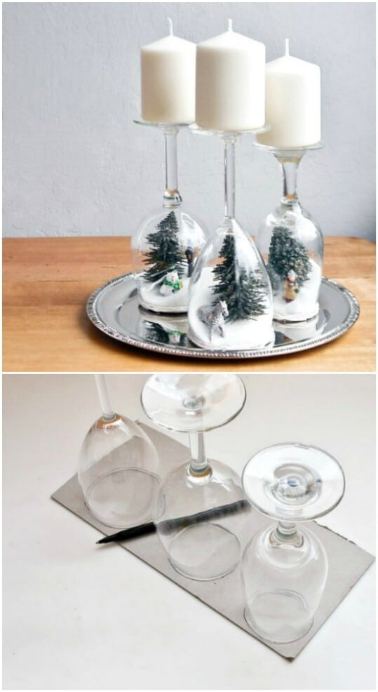 Wine Glass Holiday Diorama