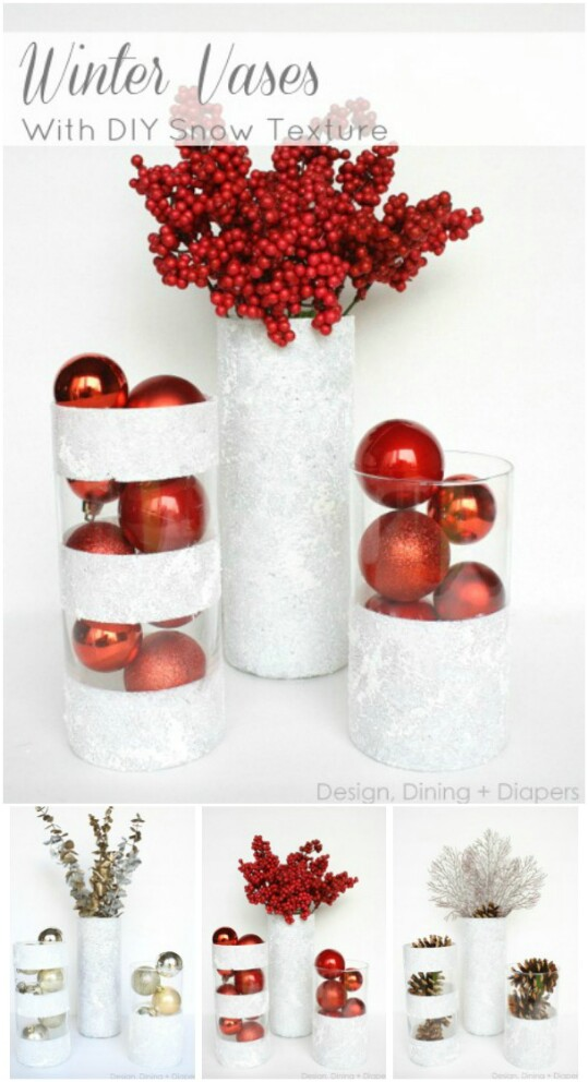 winter vases - 99 Cent Store Christmas Decorations