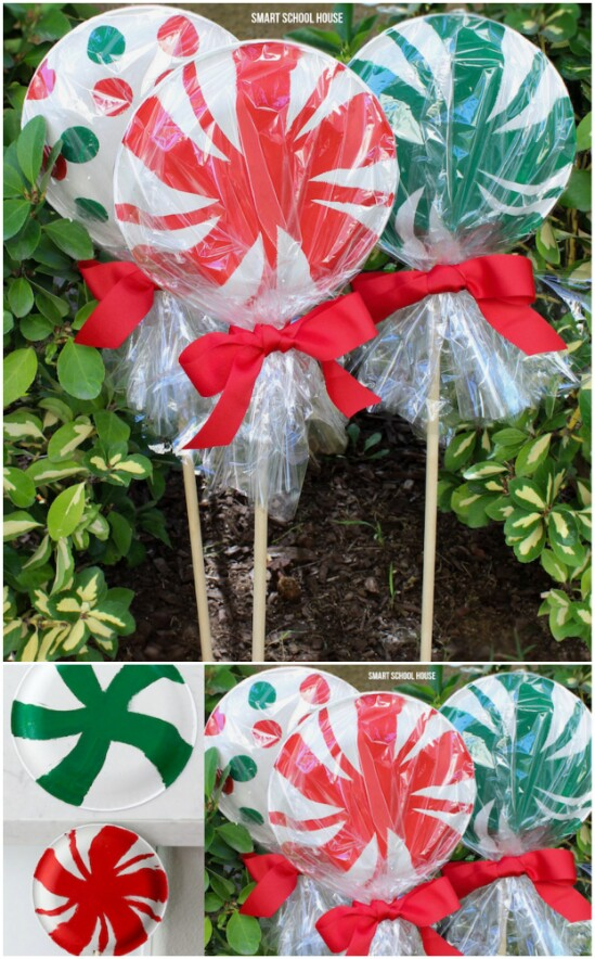 Giant Paper Plate Lollipops - 20 Impossibly Creative DIY Outdoor Christmas Decorations - DIY & Crafts