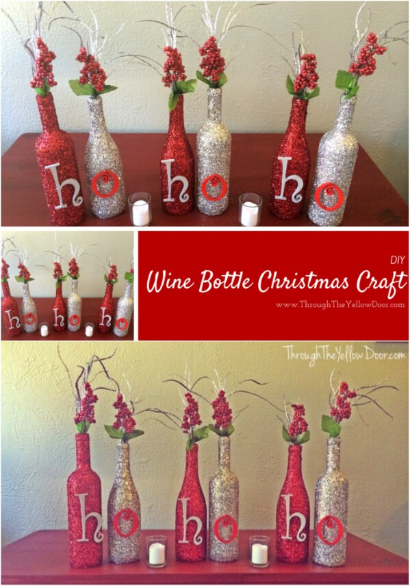 glitter holiday message bottles - Christmas Wine Bottle Decorations