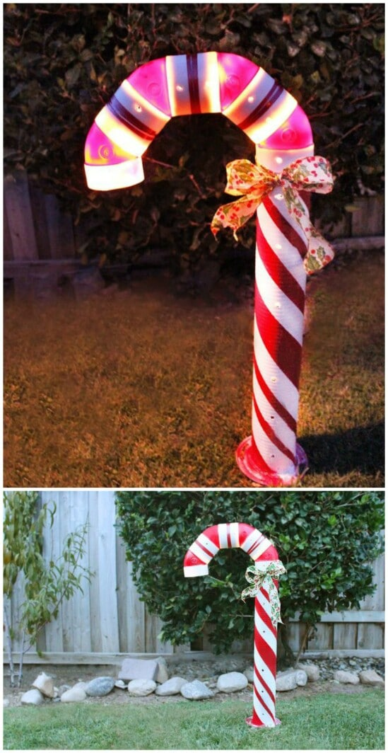 diy lighted candy canes