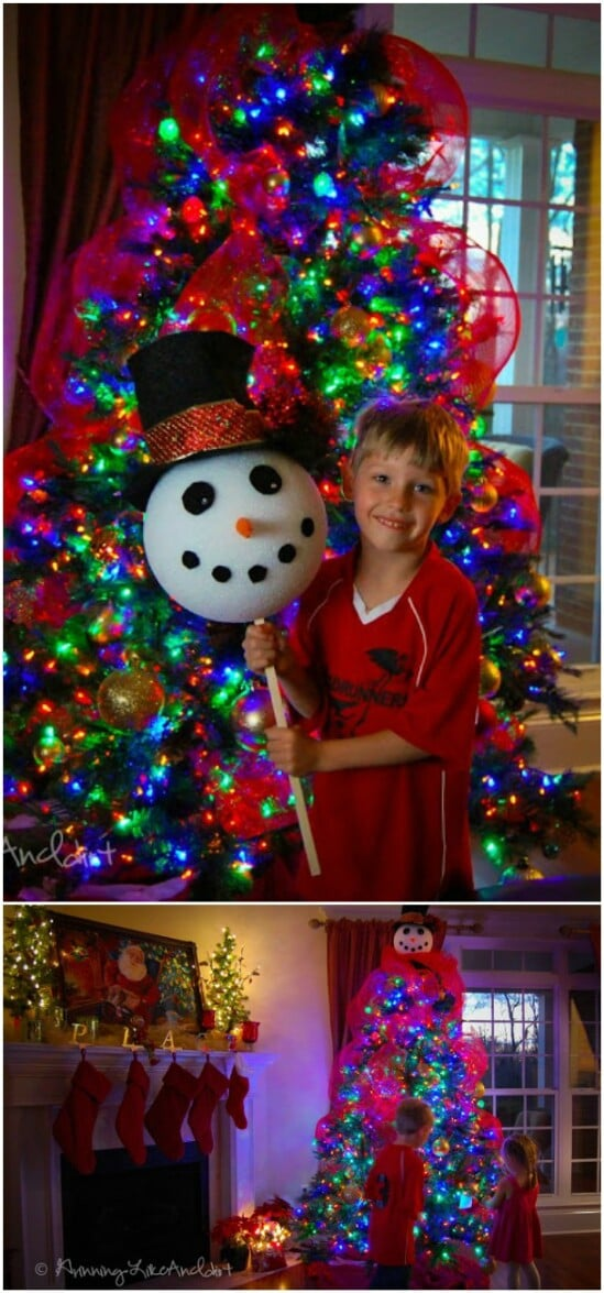 Smiling Snowman Tree Topper