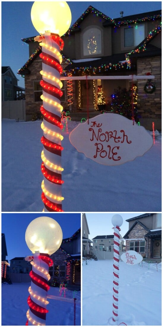 diy north pole sign - Light Pole Christmas Decorations
